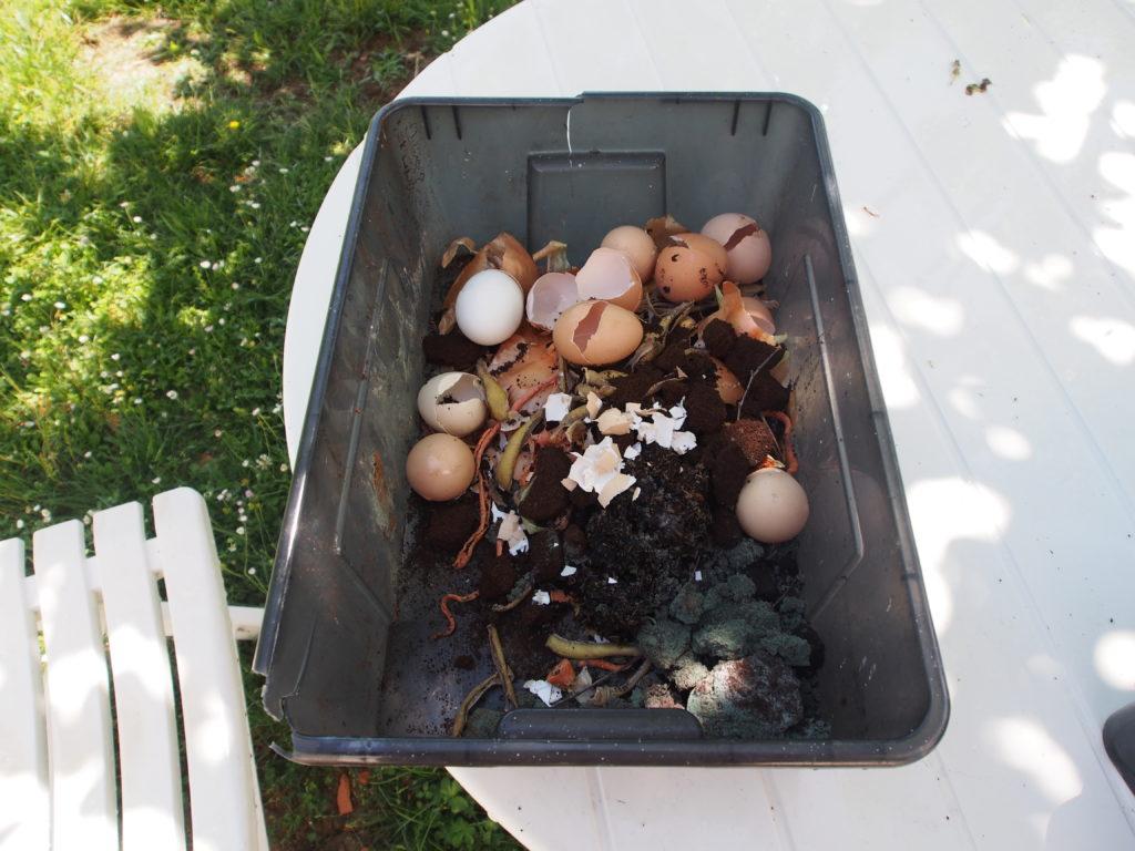 Tri des déchets dans composteur